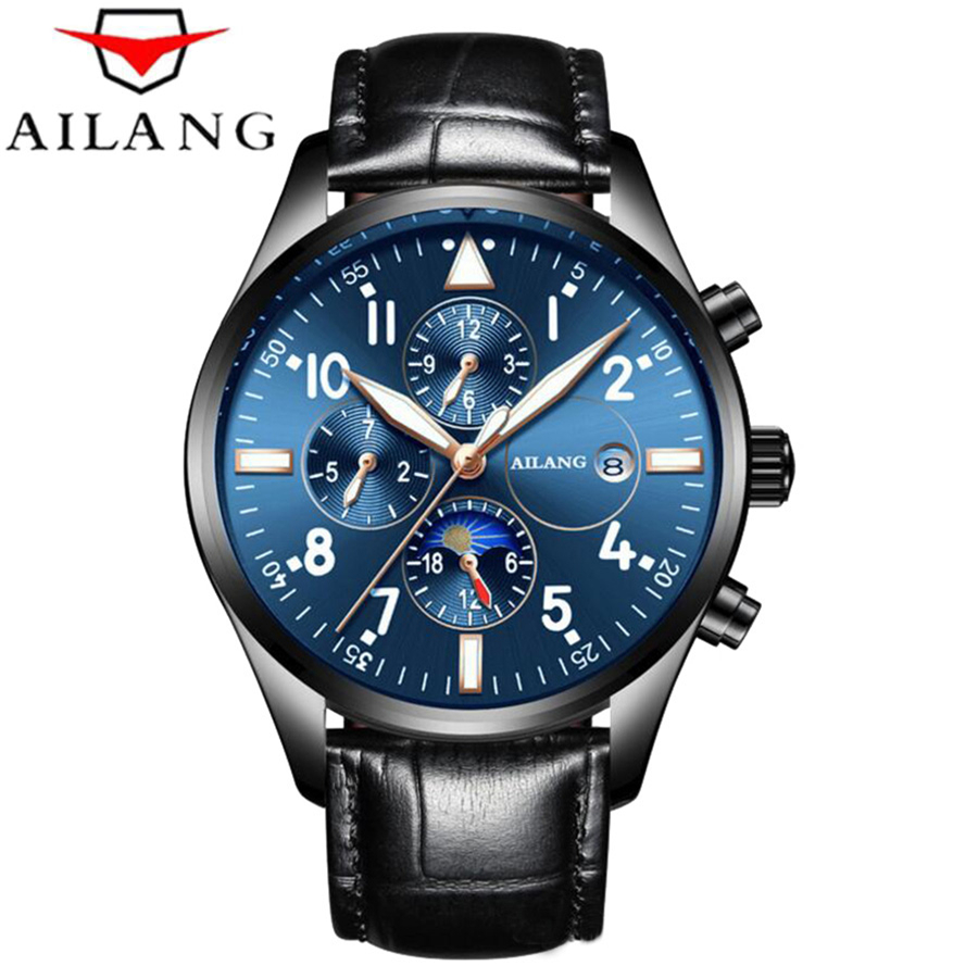 original ailang mechanical watches men waterproof luminous calendar automatic watch men montre homme relogio masculino 2017 AILANG 6 hands Moon Phase Top Brand Mens Mechanical Watches Luminous Automatic Watch Men Calendar Relogio Masculino dropship NEW
