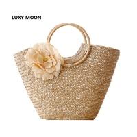2015 Round Wood Handle Flower Summer Straw Beach Bag Shoulder Bag Tote Bag Women Handbags Shopper