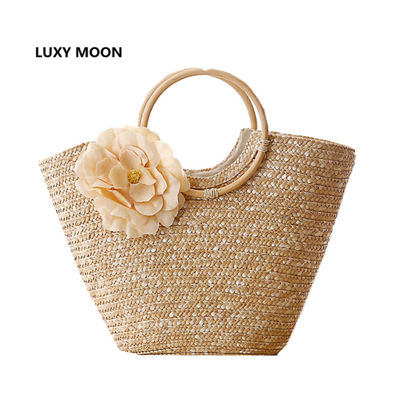 Round Wood Handle Shopper Bag Summer Straw Beach Bags Flower Design Shoulder Market Women Handbags travel Causal Tote Basket 236 handmade flower appliques straw woven bulk bags trendy summer styles beach travel tote bags women beatiful handbags