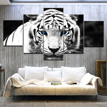 Blue Eyed White Tiger Eyes 5 Panel HD Print modern art painting wall posters Canvas For home living room decoration