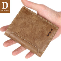 DIDE Genuine Leather wallet Fashion Design Men Coin Purse High Quality Male Card ID Holder Drop shipping Chinese famous brand
