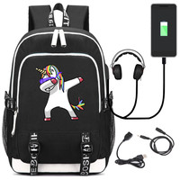 High Quality Rainbow Unicorn Printing Backpack USB Charging Laptop Backpack Kawaii Women Backpack Canvas School Bags Travel Bags
