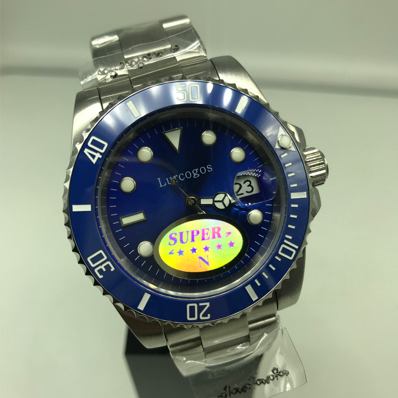 Top Kwaliteit Blauwe Wijzerplaat Keramische Bezel Saffier Glas Horloge Mannen Glide Glad Tweedehands Roestvrij Staal Mechanische Beweging Self- W Elegante Verschijning