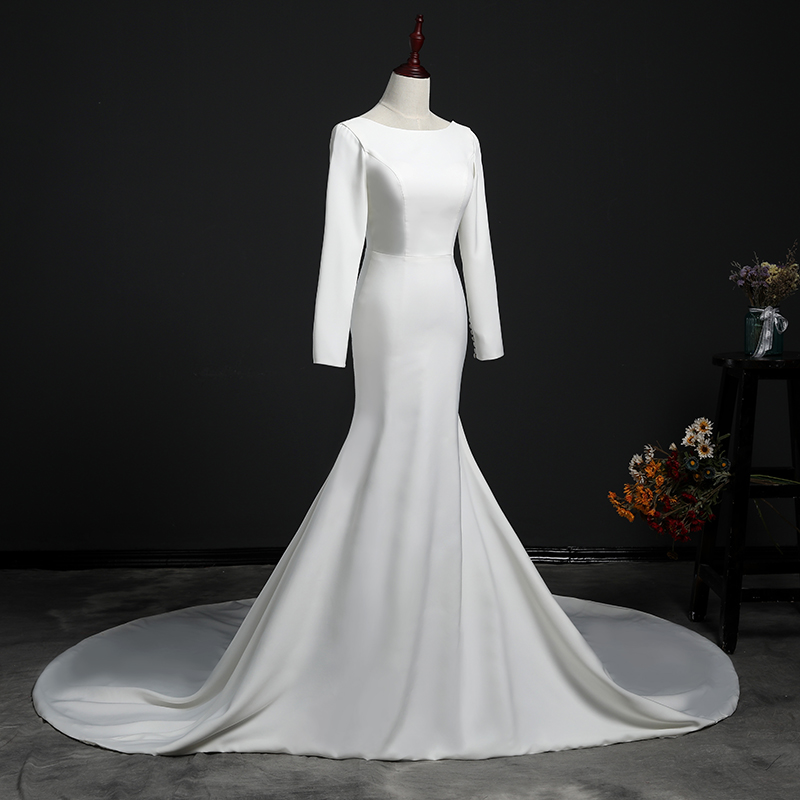 Vestido De Novia Train Wedding Dress 2018 Button Backless Long Sleeves Zip Robe de Bridal Dresses