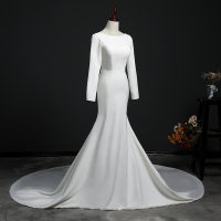 Vestido De Novia Train Wedding Dress 2018 Button Backless Long Sleeves Zip Robe de Bridal Dresses Robe de Marriage Wedding Gowns