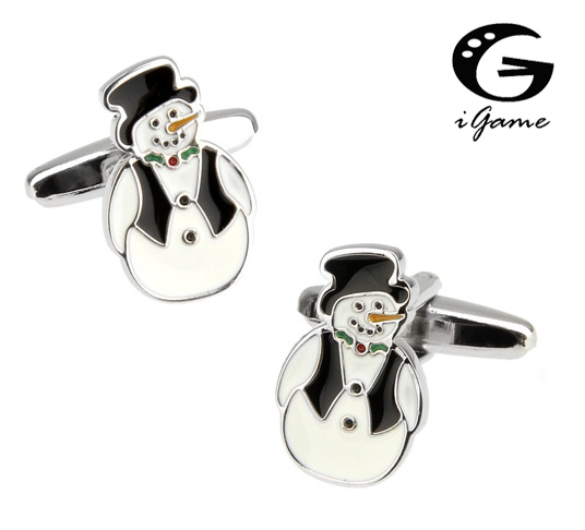 iGame New Arrival Fashion Cuff Links Novelty Snowman Design Best Christmas Gift For Men Free Shipping