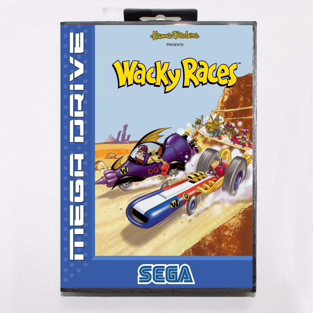 Wacky Races 16 bit MD Game Card With Retail Box For Sega Mega Drive/ Genesis