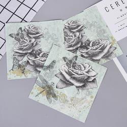 Винтаж розы пирсинг для пупка бумажные салфетки для события и вечерние декоративная ткань декупаж 33 см * 33 см 20 шт./упак./лот