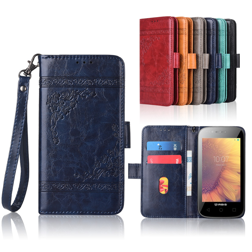 Wallet Cases Newest Wallet Case For Irbis Sp510 Flip Case With Strap100% Special Pu Leather Embossing Flower Cover Case Cellphones & Telecommunications