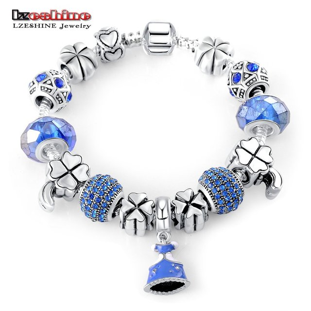 LZESHINE New Trending Style Blue Bracelets & Bangles with AAA Crystal/Glass Beads Antique Silver Charm Bracelet Jewelry PCBR0243