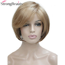 Strong Beauty Short Synthetic Bob Wig Straight Wigs Heat Resistant Women Full Capless Hair trendy full bang capless brown highlight bob style short straight synthetic wig for women