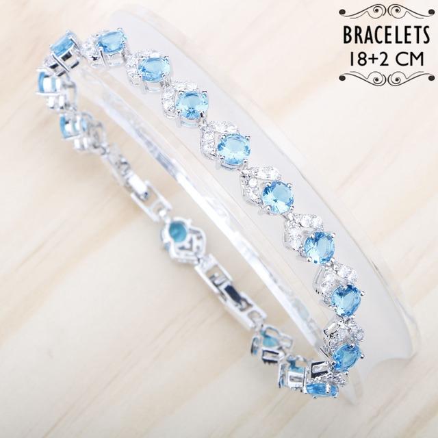Sjarmerende armbånd Lyseblå Cubic Zirkon Hvit Stones Silver 925