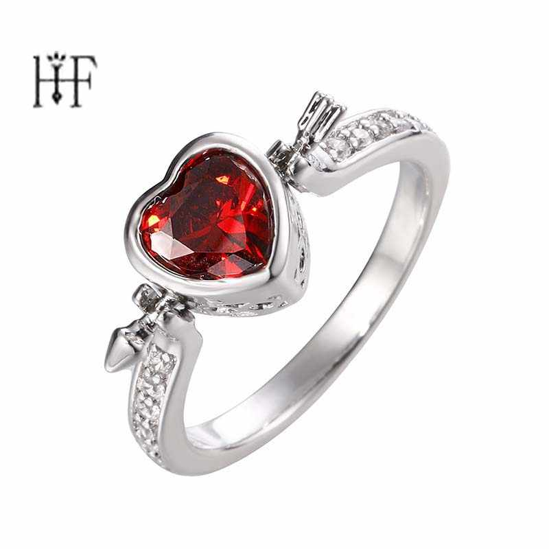 Rotatable Heart Rings Fashion Red CZ Love Forever And Punk Ring For Women Party jewelry A Sword Pierces My Heart Fall in Love