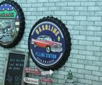Large 3D effect tin sign GASOLINE Vintage Metal Painting Beer cap Bar Wallpaper Decor Retro Mural Poster Craft 50x50 CM