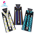 Unisex 2.5cm Width Fashion 18 Colors  Polyester Men's Print Suspenders Women's 3Clip-on Braces Y-back Elastic Suspenders WBD7100