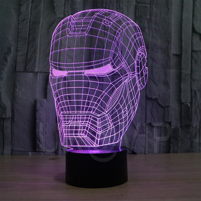JC-2822 3D illusion iron man mask shape LED table lamp as gift free shipping  (2)