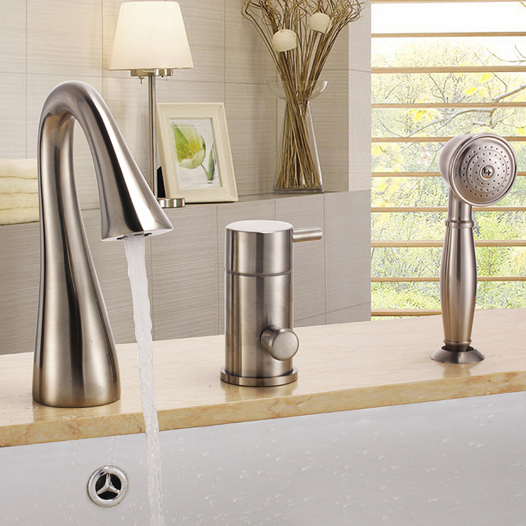 free ship brushed nickel 3 pieces widespread waterfall bathroom bath roman tub filler faucet w hand shower