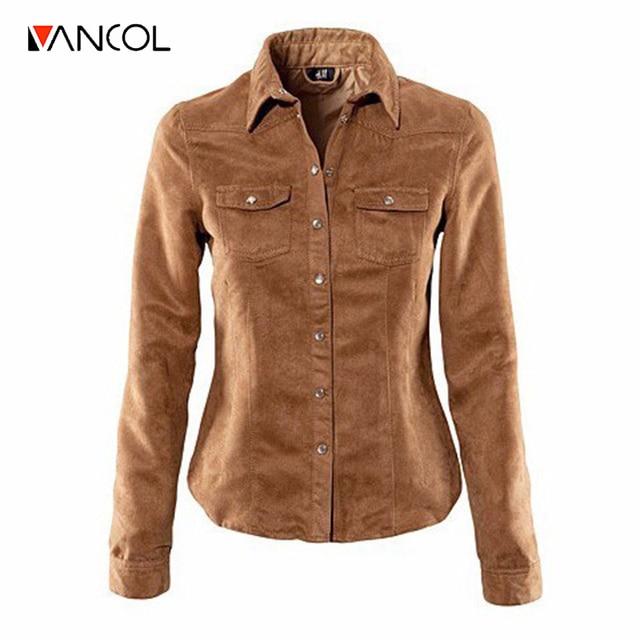Vancol 2016 Plus Size 3XL Autumn Shirt Suede Top Shirt Brown Blue Pink Chemise En Jean Femme Manches Longues Women Jeans Blouse