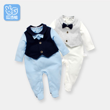 Dinstry New born Rompers Clothing handsome Baby Costumes Infant Fake two pieces Boys one-piece