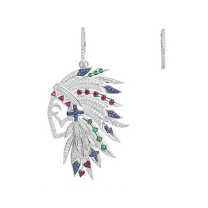 SLJELY Real 925 Sterling Silver Asymmetric Multicolor Indian Chief Feather Earrings Zirconia Stones Women May Collection