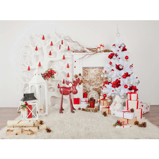 indoor xmas party photo booth background printed fireplace white christmas tree presents toy horse kids photography