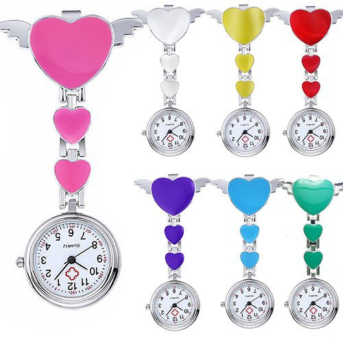 Women Lady Cute Love Heart Quartz Clip-on Fob Brooch Nurse Pocket Watch