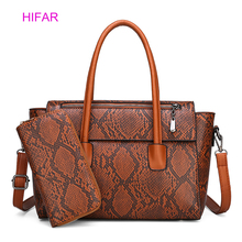 2pcs Luxury Handbags Women Bags Designer For 2019 New Fashion Serpentine Leather Tote Handbag Famous Brand