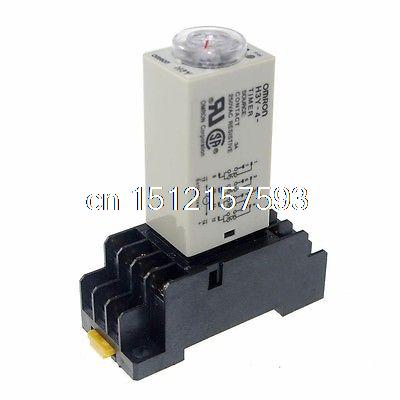 220V H3Y-4 Power On Time Delay Relay Solid-State Timer 1~30Min 4PDT 14Pin&Socket 5s h3y 4 power on time delay relay timer dpdt 14pins h3y 4 5sec 220v 110v 24v 12v