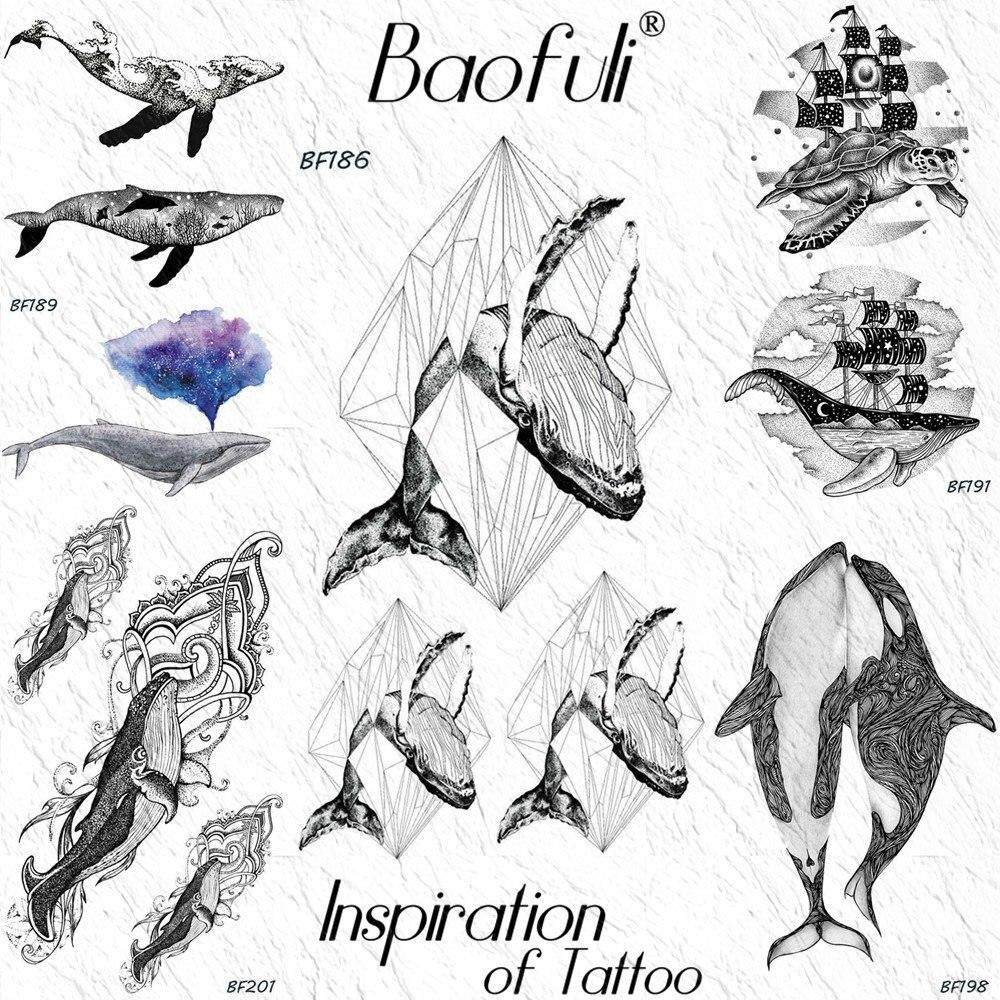 Baofuli Diamond Fish Geometric Small Temporary Tattoo Sticker Whale Ocean Waterproof Tattoos Women Men Body Art Arm Black Tatoo