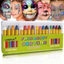 Краска для лица мелки краска для тела ing пастельный Карандаш 16 Цветные стики для детей Макияж для вечеринки по случаю Хэллоуина клоун привидение-дьявол для детского подарка