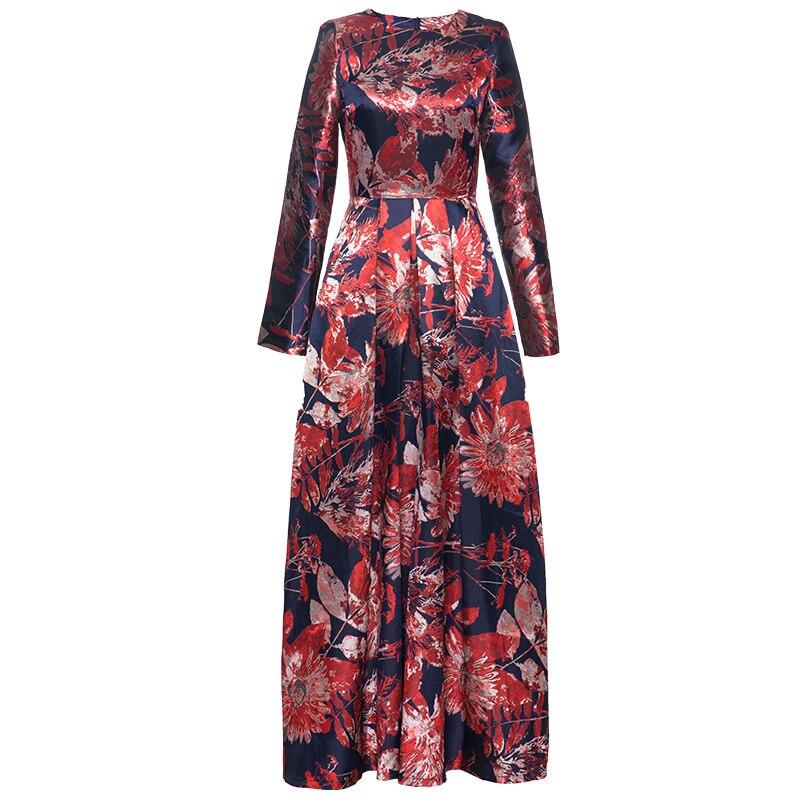 XXXXL femmes grande taille vêtements 2019 printemps mode robe de soirée robe dames o-cou Vintage imprimé poche Patchwork longue robe