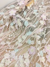 One yard Luxury 3D Beaded Full Blossom Lace Fabric in Pastel Pink for Haute Couture, Bridal Dress Wedding Gown Acessories