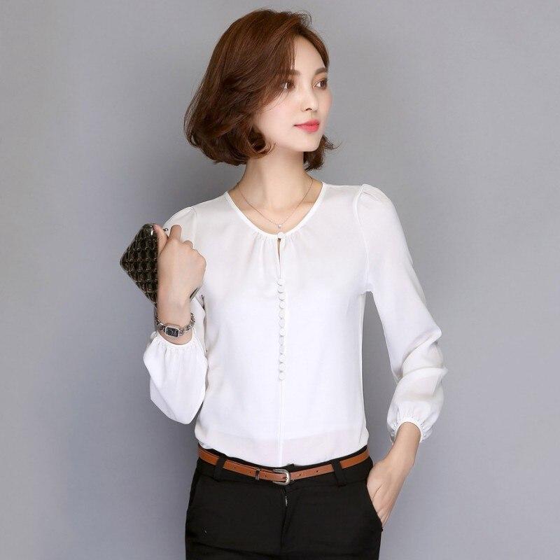 946857ce8 أزياء المرأة الأبيض بلوزات كم طويل قمصان الشيفون بلوزة السيدات عارضة blusas  قمم مكتب مكتب أنيقة الوظيفي الملابس