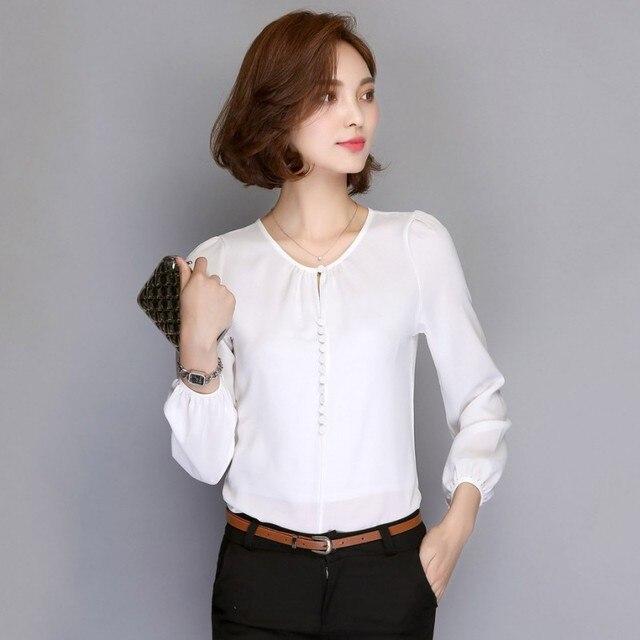 8f009885e7 Moda kobiety białe bluzki z długim rękawem szyfonowa bluzka koszule damskie  na co dzień biurowe eleganckie