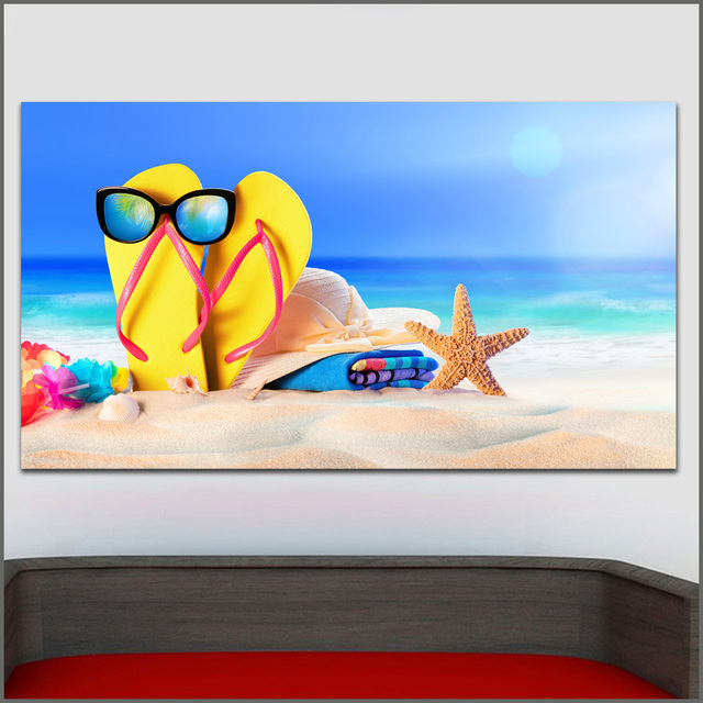 15b40fff010 Large Size Oil Painting Summer Starfish Flip-flops Wall Art Canvas Prints  Pictures For Living Room And Bedroom No Frames WLONG