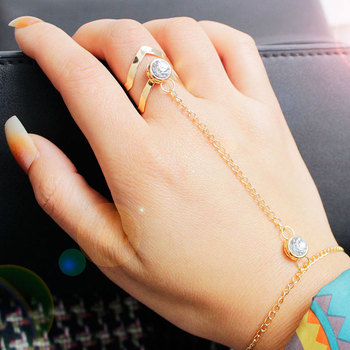 F&U Gold Color Chain Links Ring with Big Zircon Crystal Fashion Trendy Europe Popular Links Ring earrings