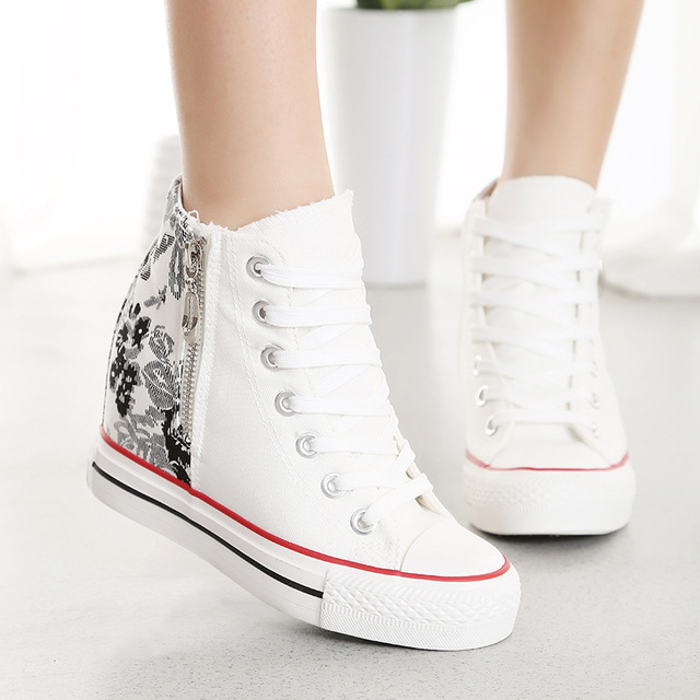 KUYUPP High Top Canvas Women Shoes Superstar Espadrilles Flower Women's Wedges Shoes Lace Up White Casual Shoes Sapatilha S249