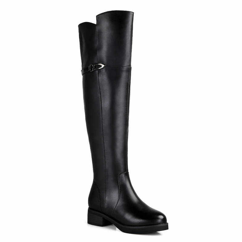 Morazora 2020 Ủng Nữ Da Thật Chính Hãng Da Đùi Bộ Lông Dày Tự Nhiên LEN MÙA ĐÔNG Giày Mũi Tròn Thời Trang Trên Đầu Gối giày
