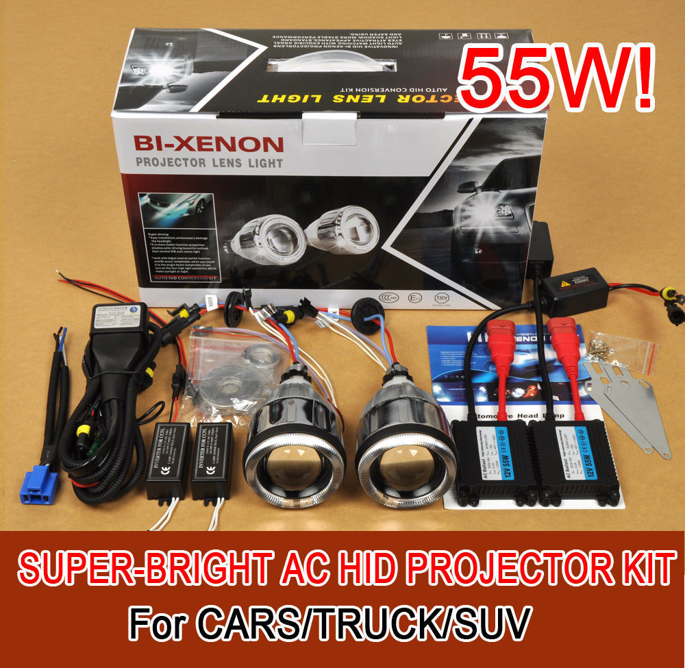 hot sale 3.0 M331 Universal Car Headlights HID Bi-Xenon Projector Lens Kit Halo Angel Eye 55W for free shpping
