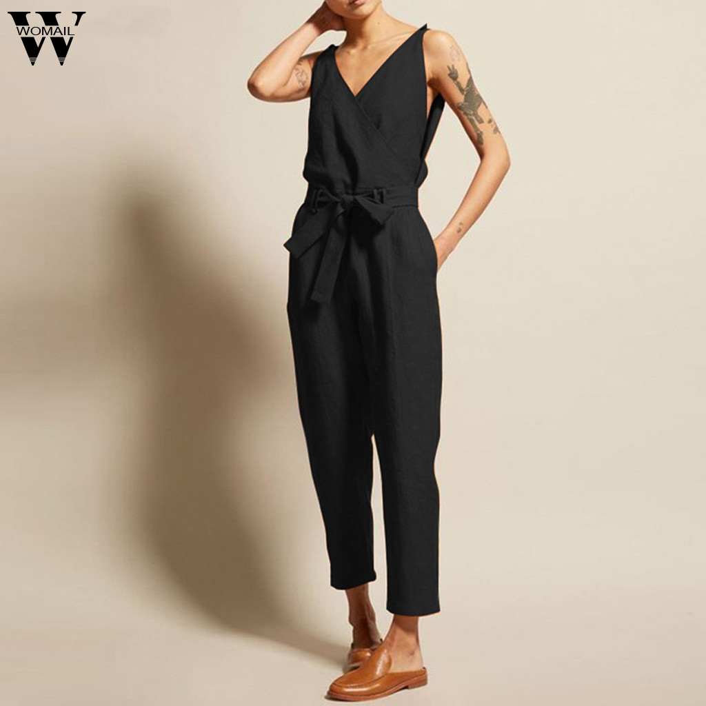 Womail Jumpsuits Women Summer Fashion Short Sleeved Solid Simple Beach Loose 5XL Long Jumpsuits With Belt Holiday 2019 M53
