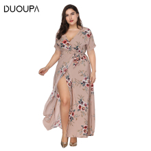 DUOUPA 2019 New Spring and Summer Womens V-neck Dress Long dress Print Bohemian Beach Sexy Big