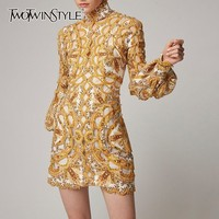 TWOTWINSTYLE Hollow Out Dress For Women Stand Collar Lantern Sleeve Heavy Beading Sexy Dresses Female 2019 Fashion Summer New
