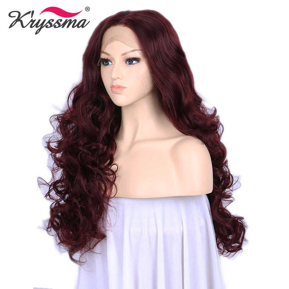 Красное вино длинные волнистые парики для Для женщин химическое Синтетические волосы на кружеве парик 24 дюйм(ов) бесклеевого жаропрочных волокно