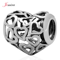 Openwork Hearts Charms 925 Sterling Silver European Love Beads DIY Jewelry Making For Woman Snake Chain