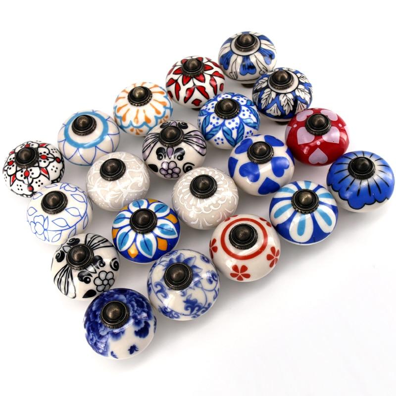 1PC Decorative Ceramic Cupboard Door Knobs, Vintage Porcelain Dresser Drawer Knobs Pulls Furniture Cabinet Knobs Handles