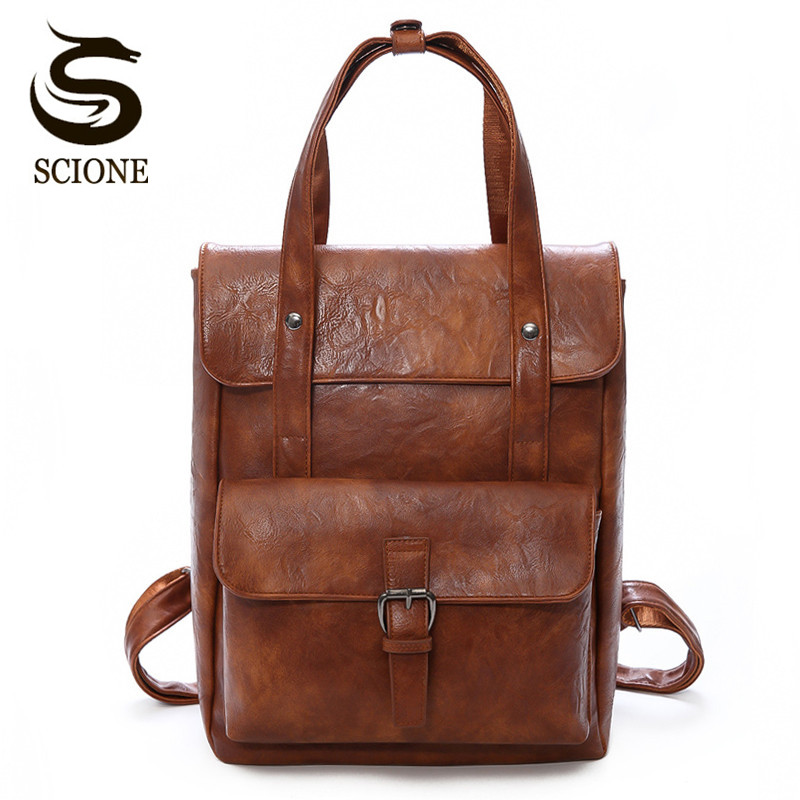 Scione Vintage Women Leather Backpack PU School Bagpack Multifunction Female Backpacks Famous Brand Design Womens Shoulder Bags ...
