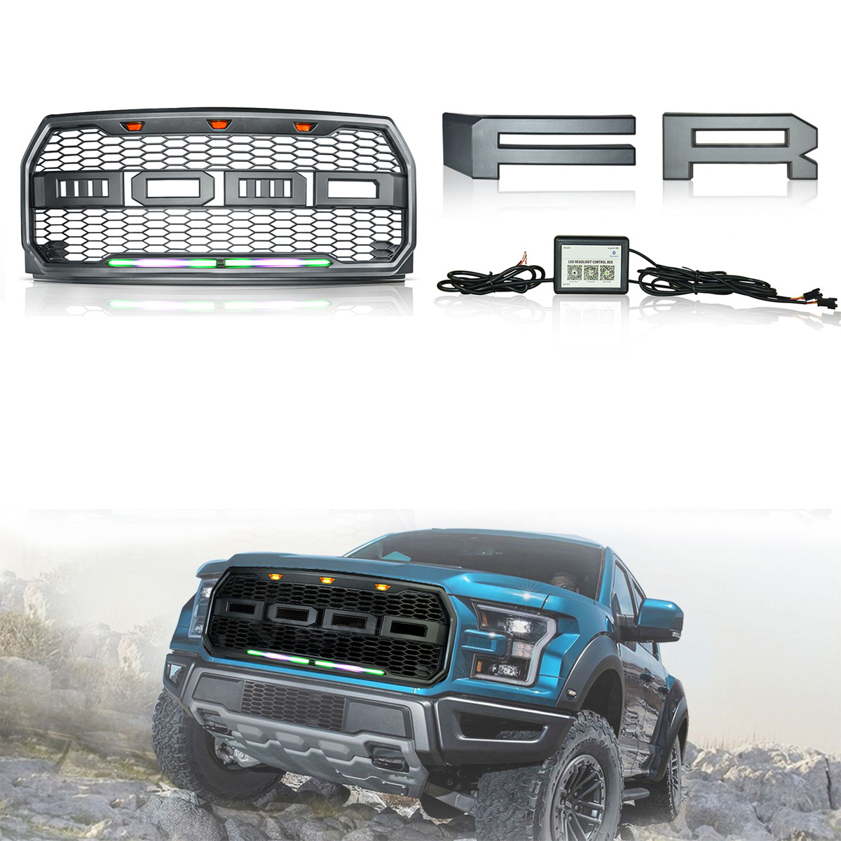 Car Raptor Styling Front Grille With RGB DRL LED Lamp And Emblem Housing For Ford Raptor F150 2015 2016 2017