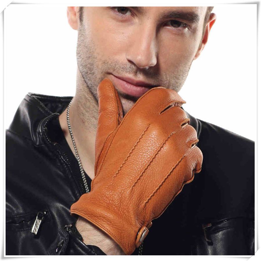Men's Really Deerskin Gloves Men  Good Guality Warm Lined Winter Gloves Free Shipping Size S-XXL