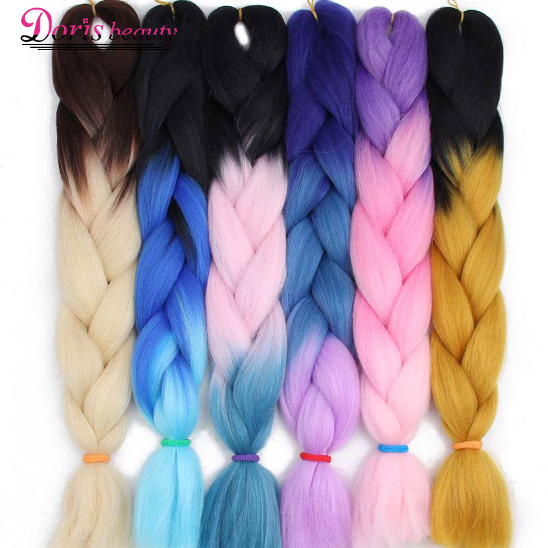Doris beauty Synthetic Kanekalon Braiding Hair Extensions Long Jumbo Braids Crochet Hair Bulk Purple Pink Gray Blue Blonde Color ...