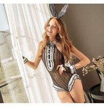 2018 Nieuwe Verleiding Sexy Uniform Opknoping Hals Halter Slanke Lotusblad Siamese Bunny Pyjama Thuis Set Sexy Kostuums Bow Tie konijn